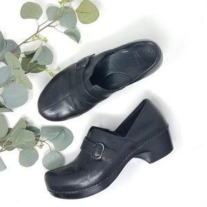 DANSKO Black Slip-On Nursing Leather Clogs 39